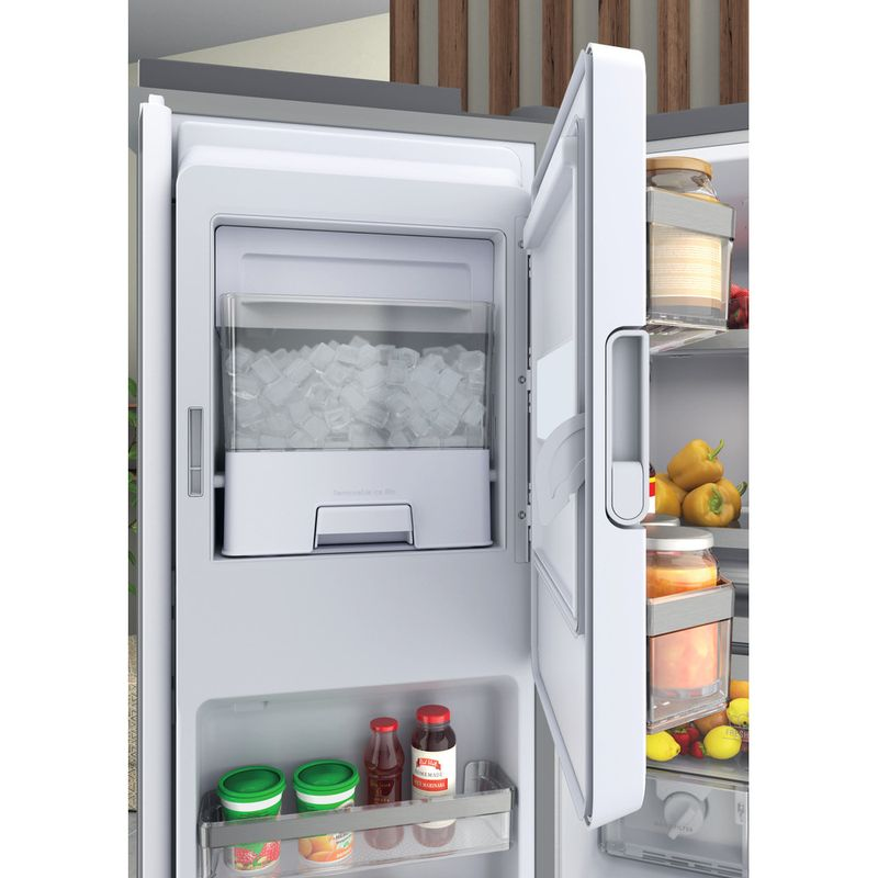 Hotpoint-Side-by-Side-Free-standing-HQ9I-MO1L-UK-Inox-Look-Drawer