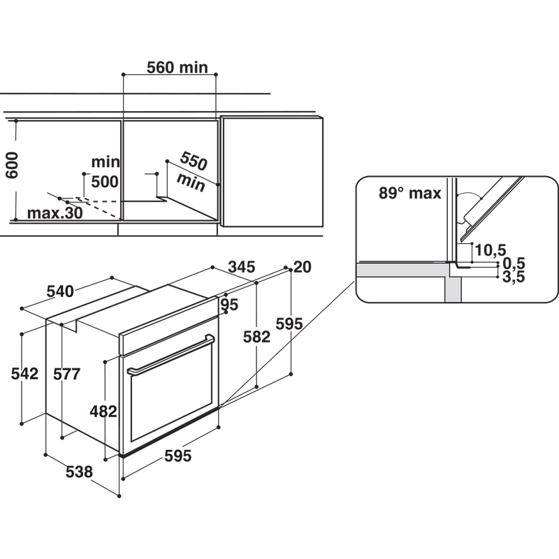 Hotpoint-OVEN-Built-in-SI9-S8C1-SH-IX-H-Electric-A--Technical-drawing