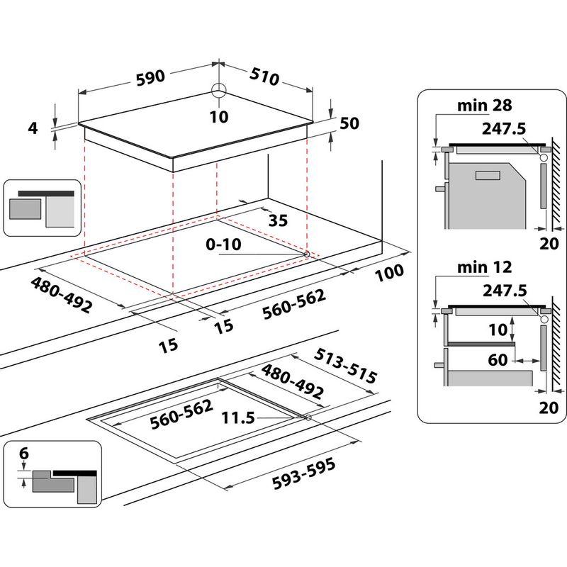 Hotpoint-HOB-TS-5760F-NE-Black-Induction-vitroceramic-Technical-drawing
