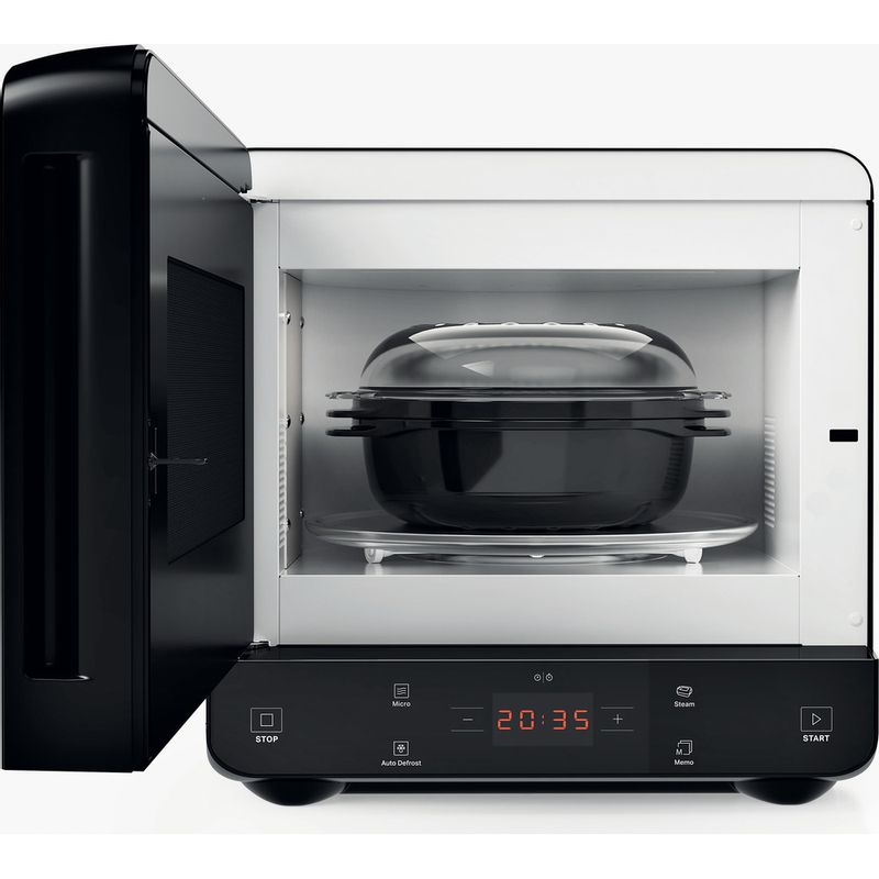 Hotpoint-Microwave-Free-standing-MWHC-1335-MB-Black-Matt-Electronic-13-MW-only-700-Frontal_Open