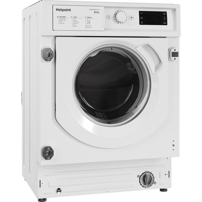 Hotpoint-Washer-dryer-Built-in-BI-WDHG-861484-UK-White-Front-loader-Perspective