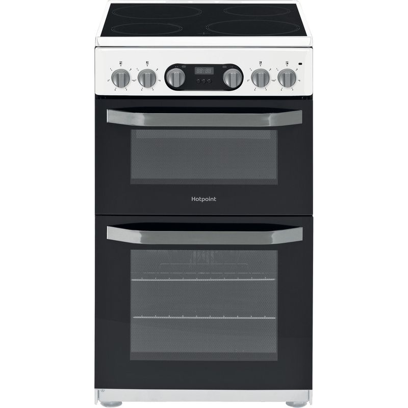 Hotpoint-Double-Cooker-HD5V93CCW-UK-White-A-Vitroceramic-Frontal