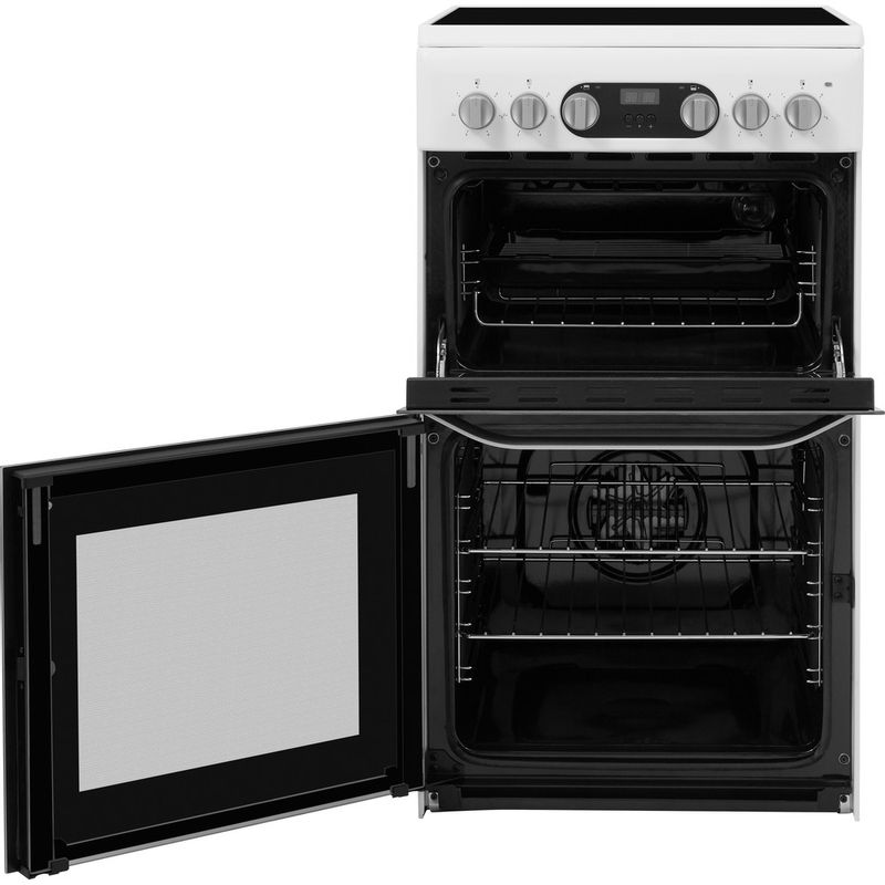 Hotpoint-Double-Cooker-HD5V93CCW-UK-White-A-Vitroceramic-Frontal-open