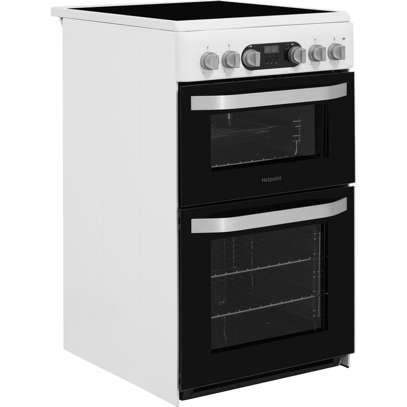 Hotpoint-Double-Cooker-HD5V93CCW-UK-White-A-Vitroceramic-Perspective