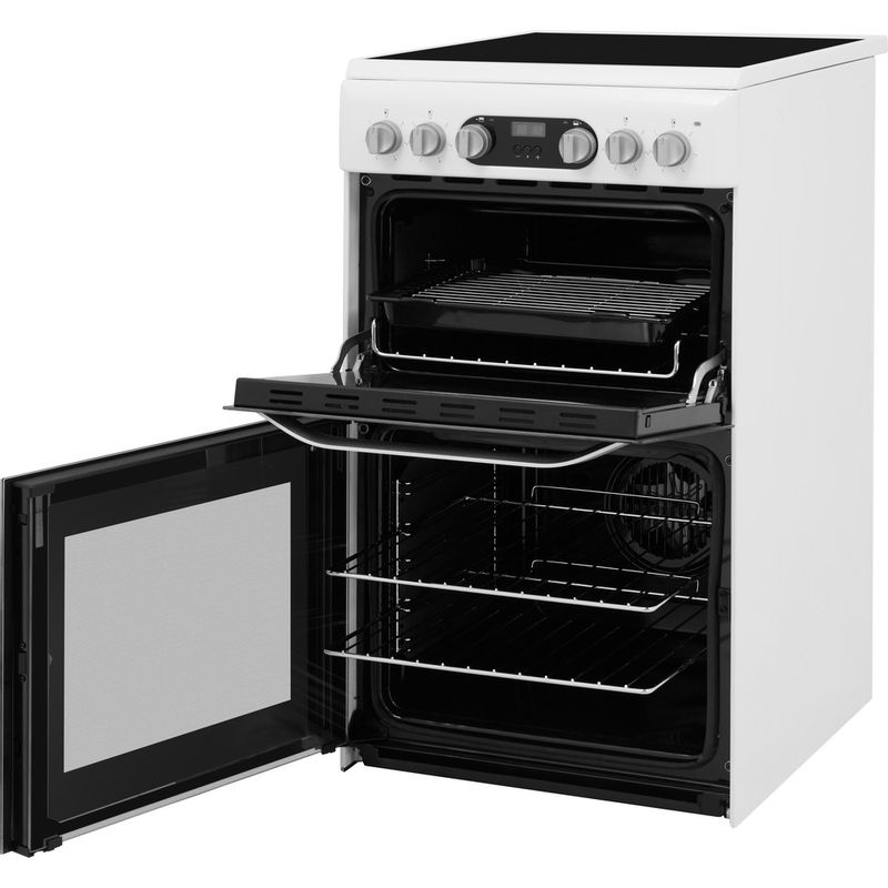 Hotpoint-Double-Cooker-HD5V93CCW-UK-White-A-Vitroceramic-Perspective-open