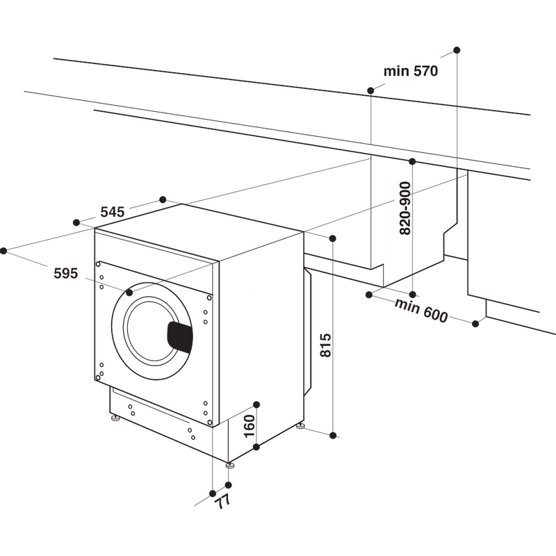 Hotpoint-Washing-machine-Built-in-BI-WMHG-91484-UK-White-Front-loader-C-Technical-drawing