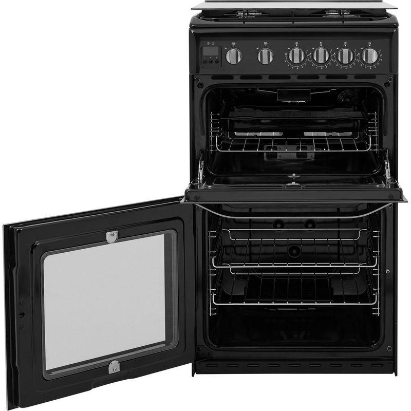 Hotpoint-Double-Cooker-HD5G00CCBK-UK-Black-A--Enamelled-Sheetmetal-Frontal-open