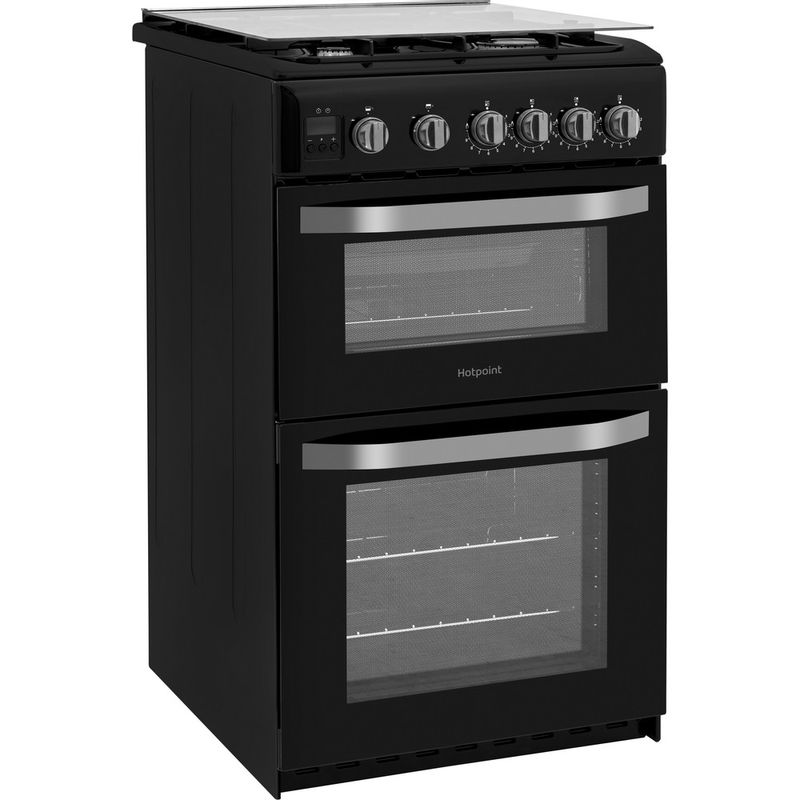 Hotpoint-Double-Cooker-HD5G00CCBK-UK-Black-A--Enamelled-Sheetmetal-Perspective