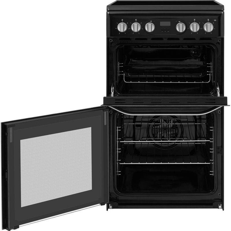 Hotpoint-Double-Cooker-HD5V93CCB-UK-White-A-Enamelled-Sheetmetal-Frontal-open
