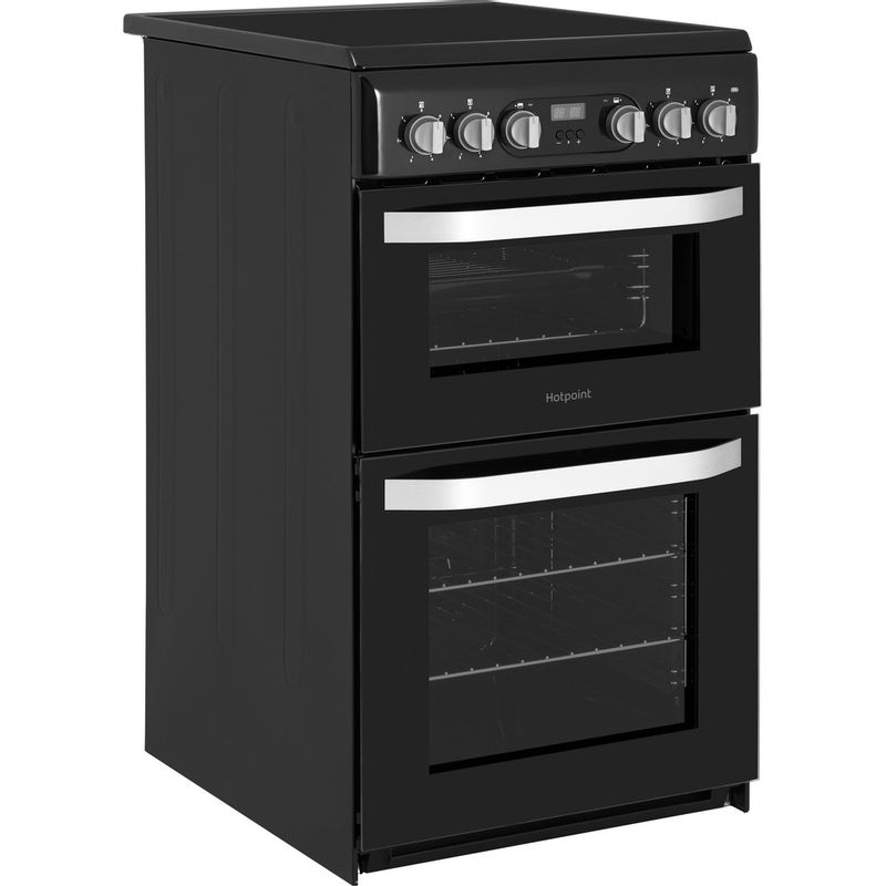 Hotpoint-Double-Cooker-HD5V93CCB-UK-White-A-Enamelled-Sheetmetal-Perspective