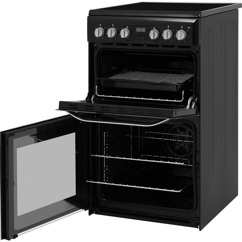 Hotpoint-Double-Cooker-HD5V93CCB-UK-White-A-Enamelled-Sheetmetal-Perspective-open