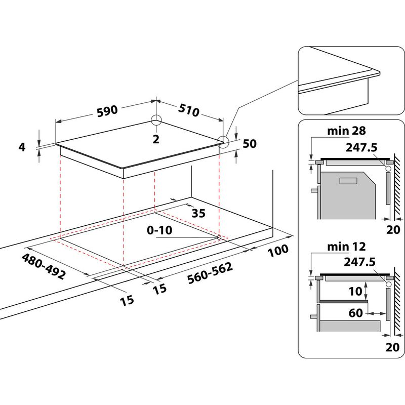 Hotpoint-HOB-TQ-4160S-BF-Black-Induction-vitroceramic-Technical-drawing