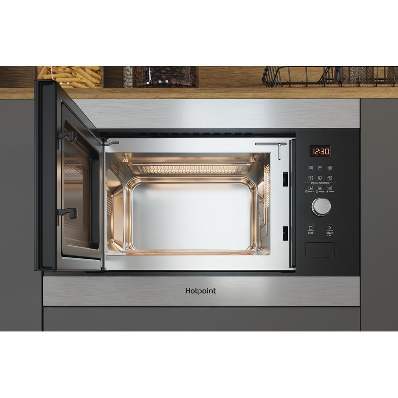 Hotpoint-Microwave-Built-in-MF25G-IX-H-Inox-Electronic-25-MW-Grill-function-900-Lifestyle-frontal-open