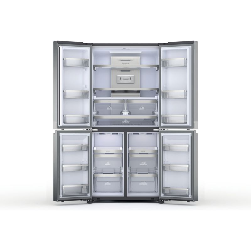 Hotpoint-Side-by-Side-Free-standing-HQ9-M2L-UK-Inox-Look-Frontal-open