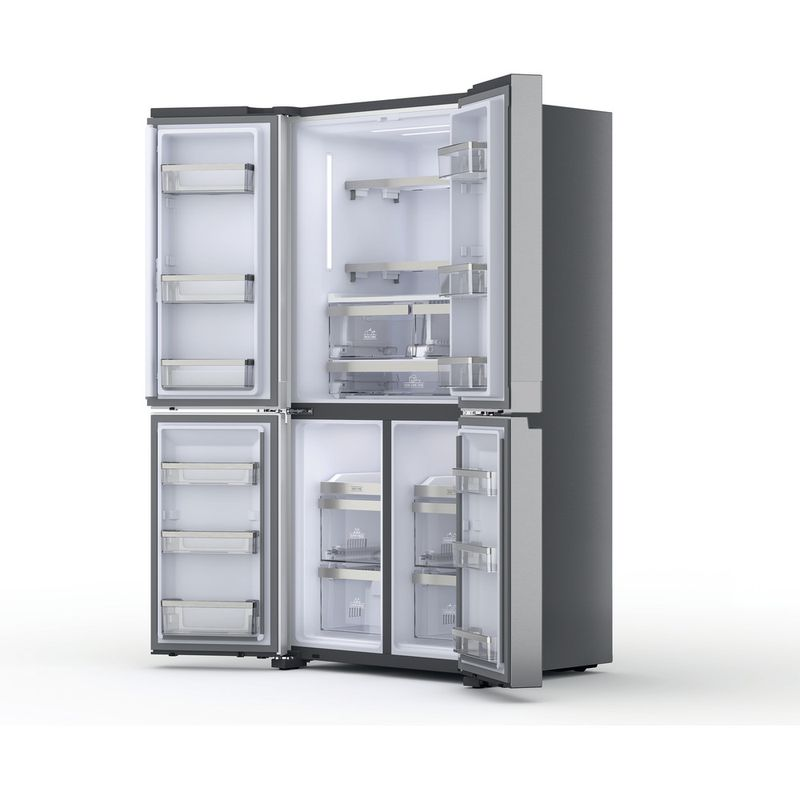 Hotpoint-Side-by-Side-Free-standing-HQ9-M2L-UK-Inox-Look-Perspective-open