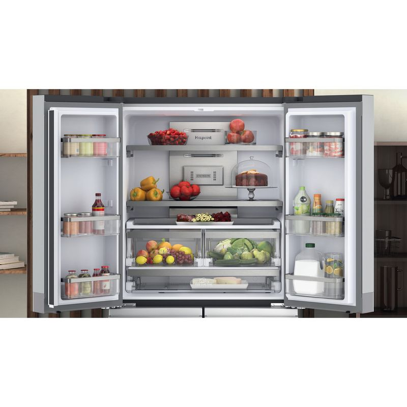Hotpoint-Side-by-Side-Free-standing-HQ9-M2L-UK-Inox-Look-Lifestyle-frontal-open