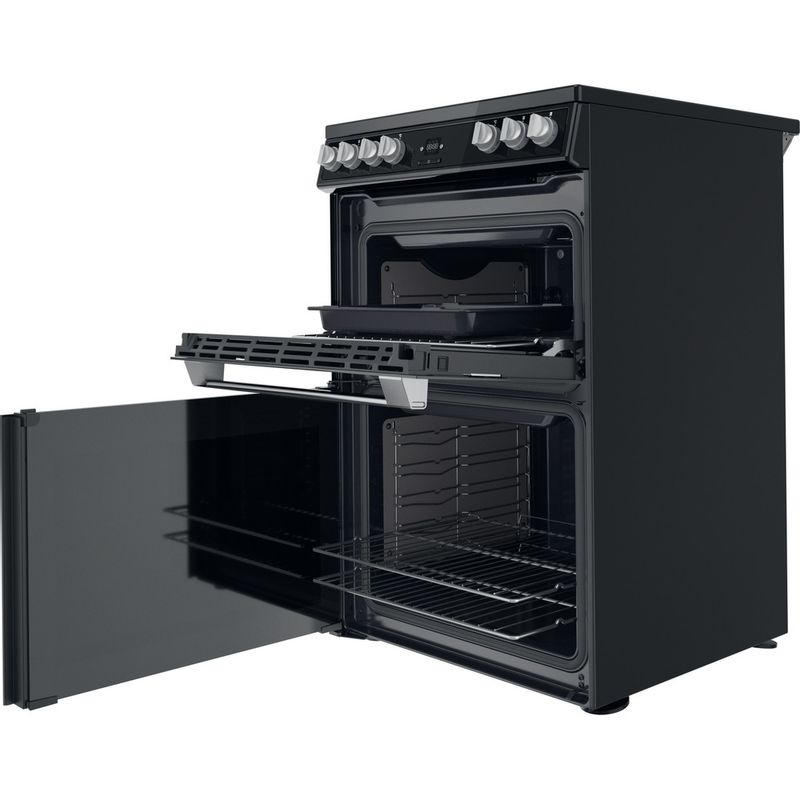 Hotpoint-Double-Cooker-HDT67V9H2CB-UK-Black-A-Perspective-open
