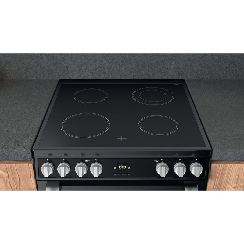 Hotpoint-Double-Cooker-HDT67V9H2CB-UK-Black-A-Lifestyle-frontal-top-down