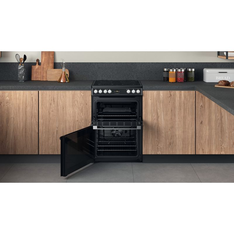 Hotpoint-Double-Cooker-HDT67V9H2CB-UK-Black-A-Lifestyle-frontal-open