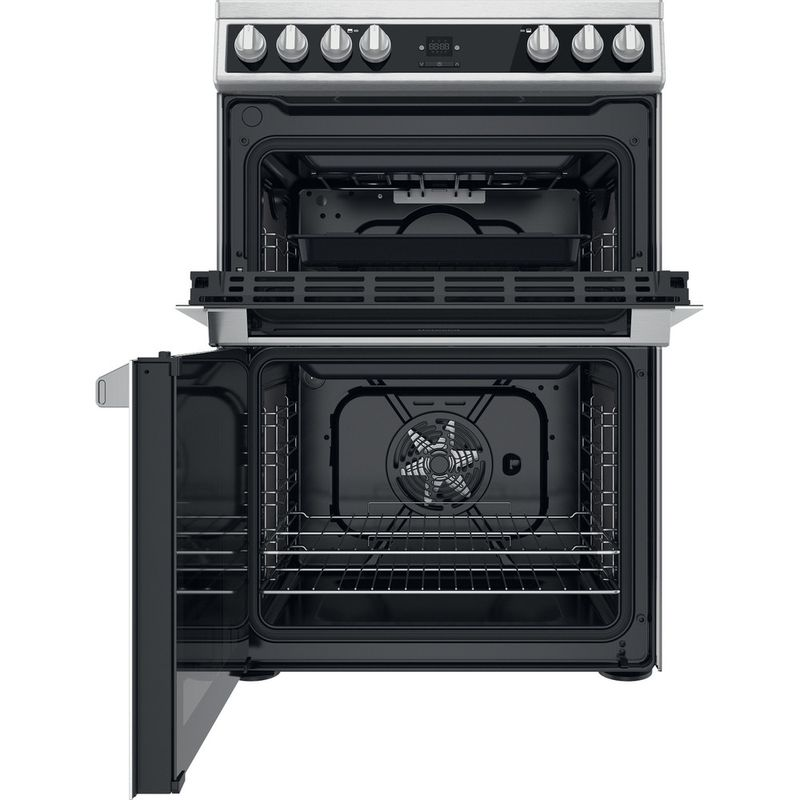 Hotpoint-Double-Cooker-HDT67V9H2CX-UK-Inox-A-Frontal-open