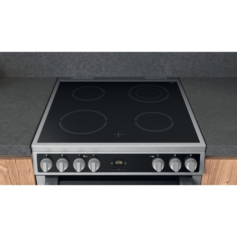 Hotpoint-Double-Cooker-HDT67V9H2CX-UK-Inox-A-Lifestyle-frontal-top-down