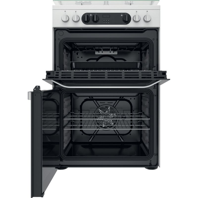 Hotpoint-Double-Cooker-HDM67G9C2CW-UK-White-A-Frontal-open