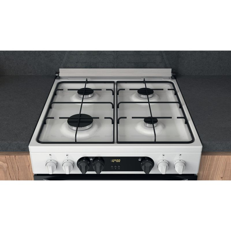 Hotpoint-Double-Cooker-HDM67G9C2CW-UK-White-A-Lifestyle-frontal-top-down
