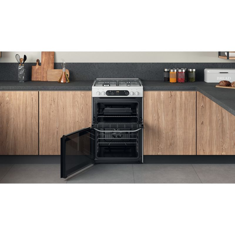 Hotpoint-Double-Cooker-HDM67G9C2CW-UK-White-A-Lifestyle-frontal-open