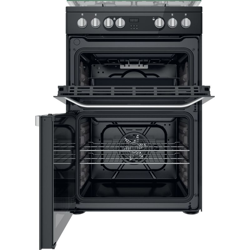 Hotpoint-Double-Cooker-HDM67G9C2CB-UK-Black-A-Frontal-open