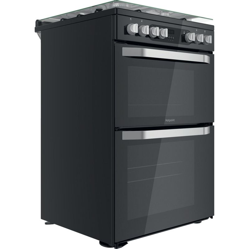 Hotpoint-Double-Cooker-HDM67G9C2CB-UK-Black-A-Perspective