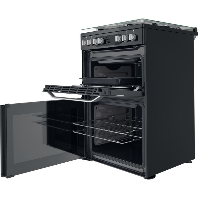 Hotpoint-Double-Cooker-HDM67G9C2CB-UK-Black-A-Perspective-open