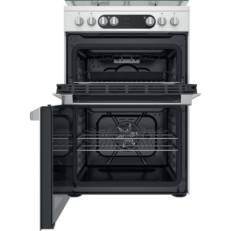 Hotpoint-Double-Cooker-HDM67G9C2CX-U-Inox-A-Frontal-open