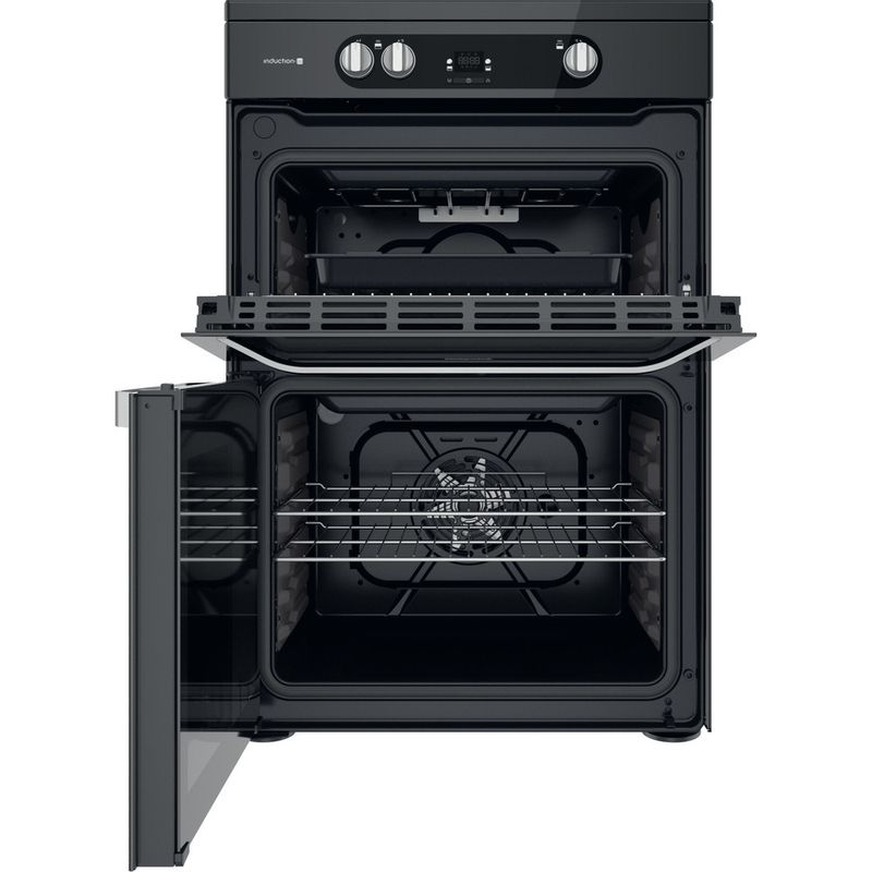 Hotpoint-Double-Cooker-HDM67I9H2CB-U-Black-A-Frontal-open