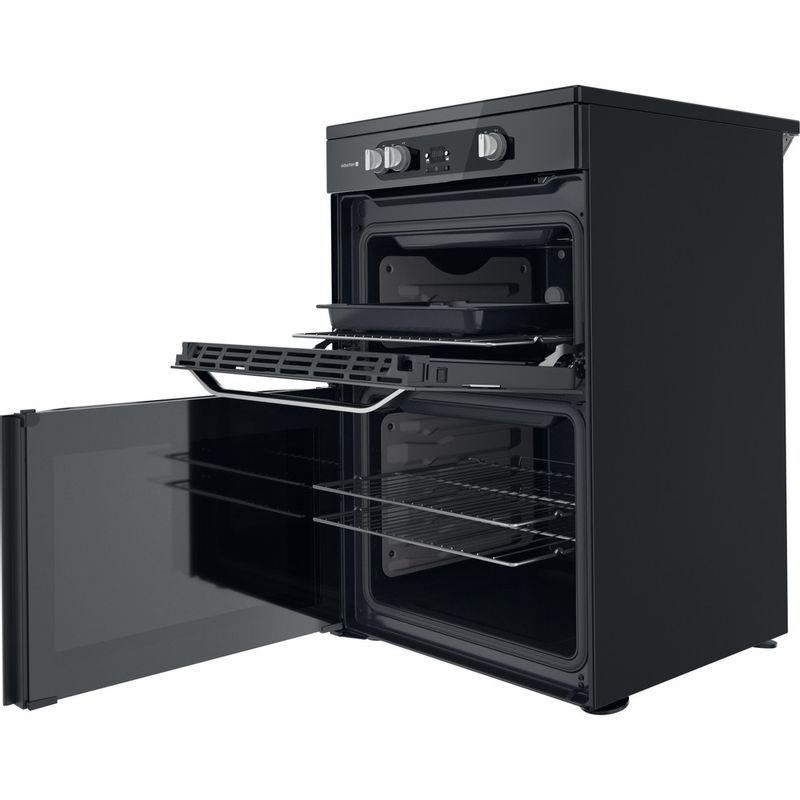 Hotpoint-Double-Cooker-HDM67I9H2CB-U-Black-A-Perspective-open
