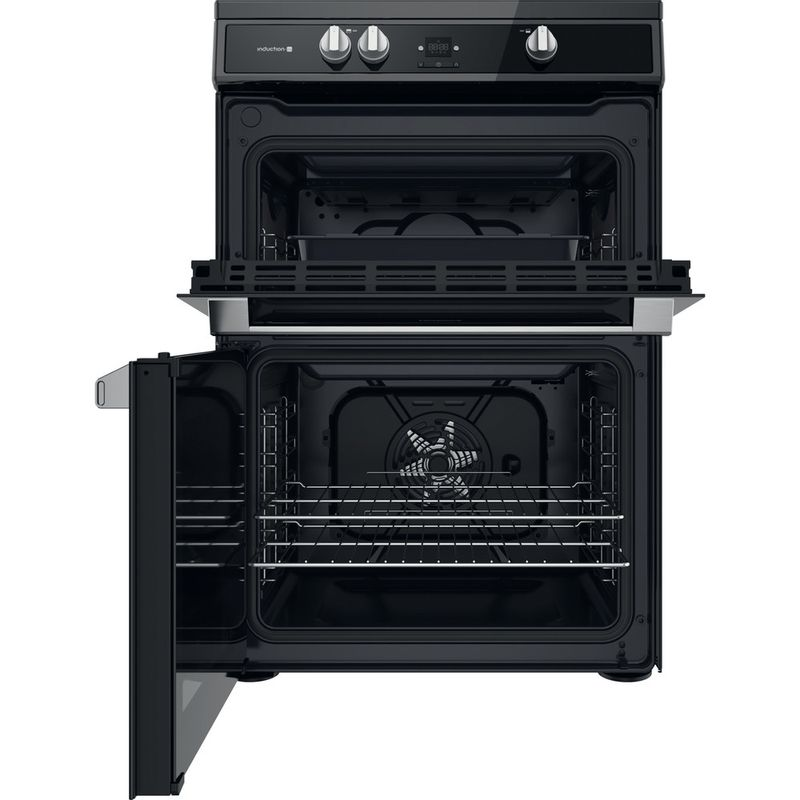 Hotpoint-Double-Cooker-HDT67I9HM2C-UK-Black-A-Frontal-open