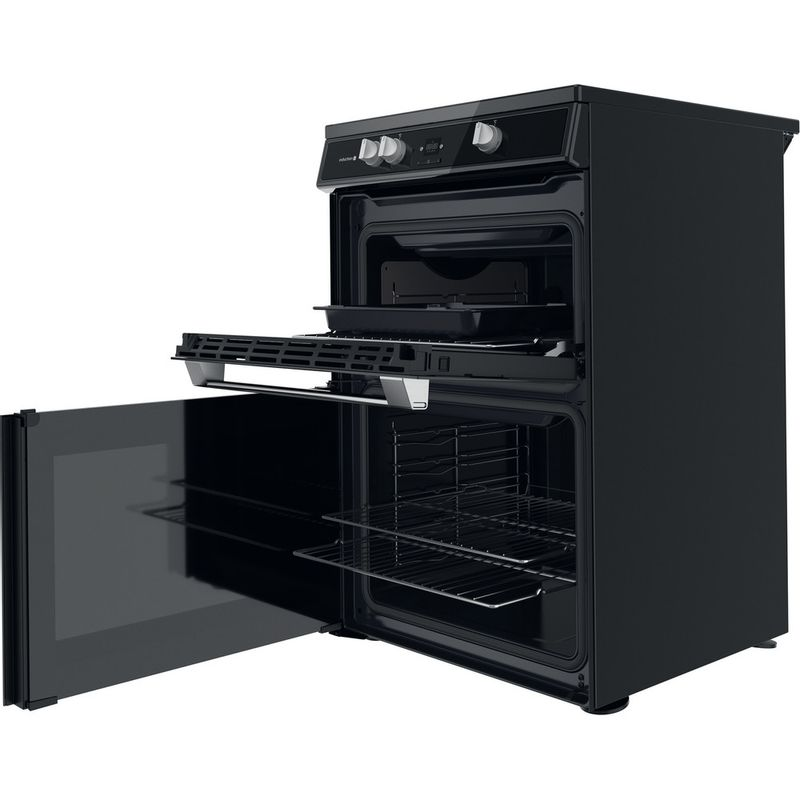 Hotpoint-Double-Cooker-HDT67I9HM2C-UK-Black-A-Perspective-open