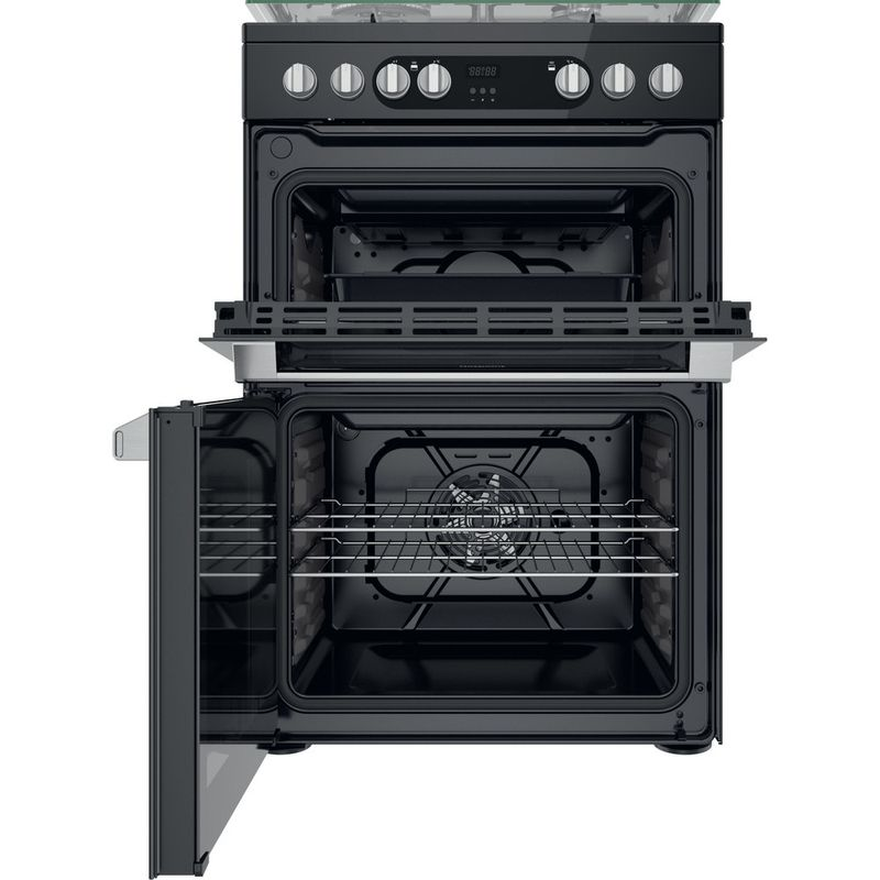 Hotpoint-Double-Cooker-HDM67G9C2CSB-UK-Black-A-Frontal-open