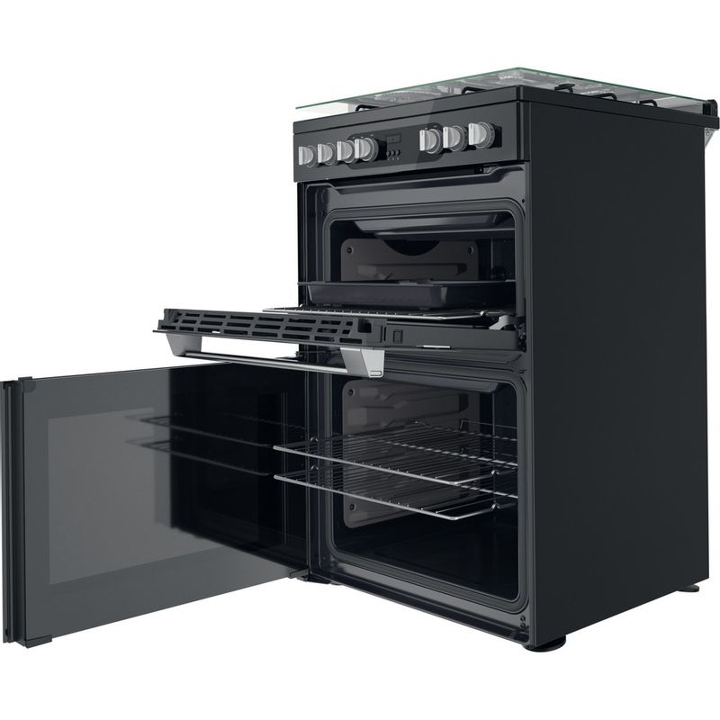 Hotpoint-Double-Cooker-HDM67G9C2CSB-UK-Black-A-Perspective-open
