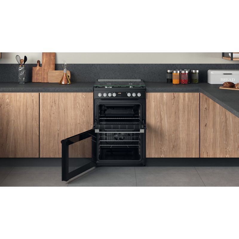Hotpoint-Double-Cooker-HDM67G9C2CSB-UK-Black-A-Lifestyle-frontal-open