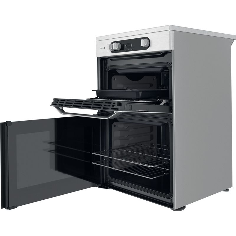 Hotpoint-Double-Cooker-HDM67I9H2CX-UK-Inox-A-Perspective-open