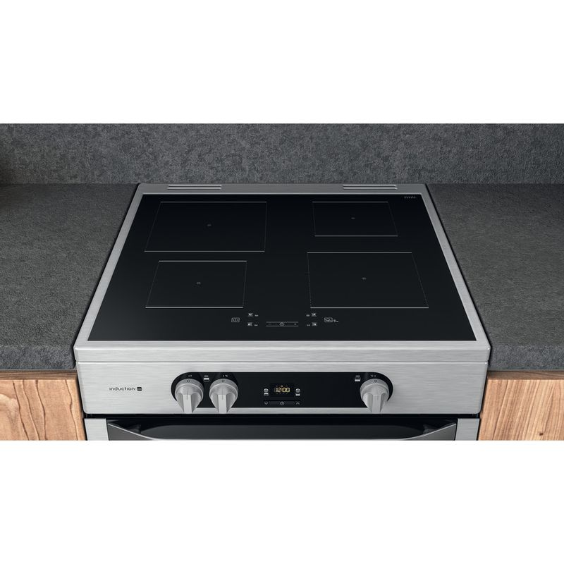 Hotpoint-Double-Cooker-HDM67I9H2CX-UK-Inox-A-Lifestyle-frontal-top-down