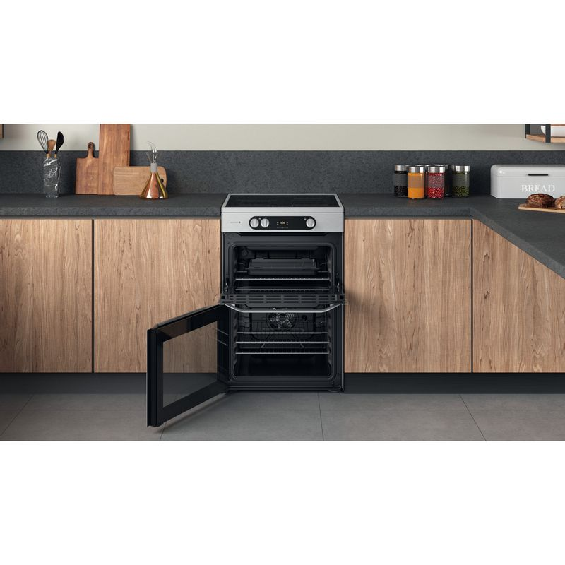 Hotpoint-Double-Cooker-HDM67I9H2CX-UK-Inox-A-Lifestyle-frontal-open