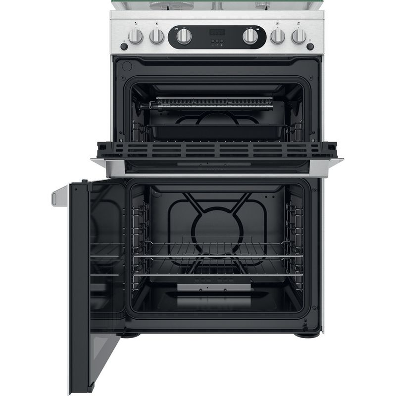 Hotpoint-Double-Cooker-HDM67G0C2CX-U-Inox-A--Frontal-open