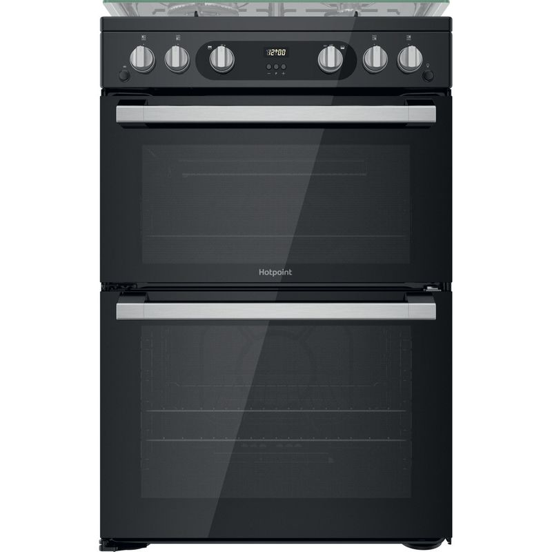 Hotpoint-Double-Cooker-HDM67G0C2CB-UK-Black-A--Frontal