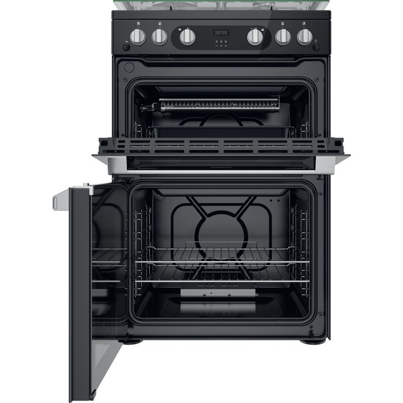 Hotpoint-Double-Cooker-HDM67G0C2CB-UK-Black-A--Frontal-open