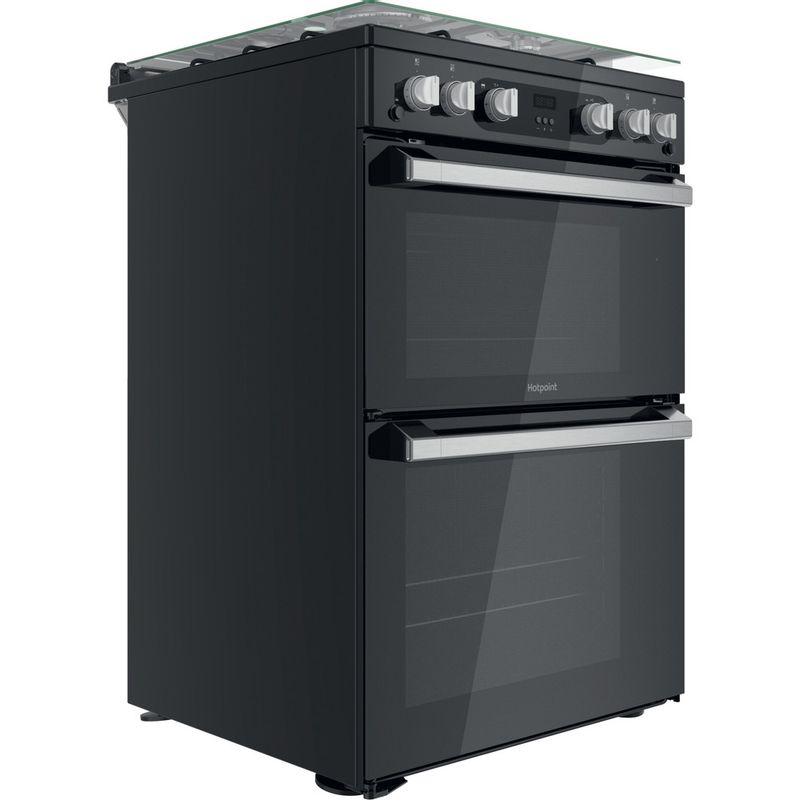 Hotpoint-Double-Cooker-HDM67G0C2CB-UK-Black-A--Perspective