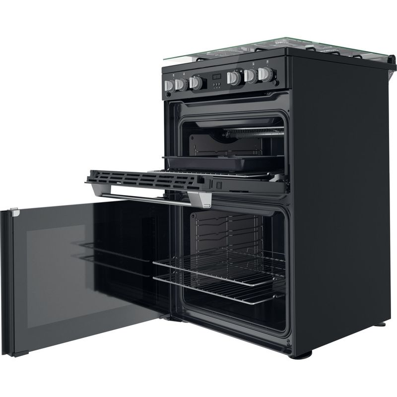 Hotpoint-Double-Cooker-HDM67G0C2CB-UK-Black-A--Perspective-open