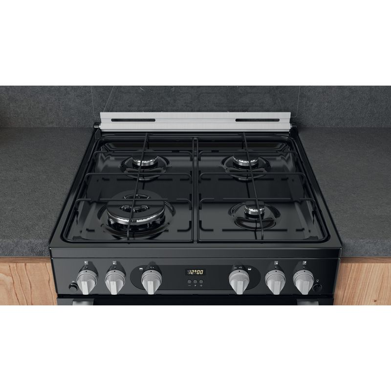 Hotpoint-Double-Cooker-HDM67G0C2CB-UK-Black-A--Lifestyle-frontal-top-down