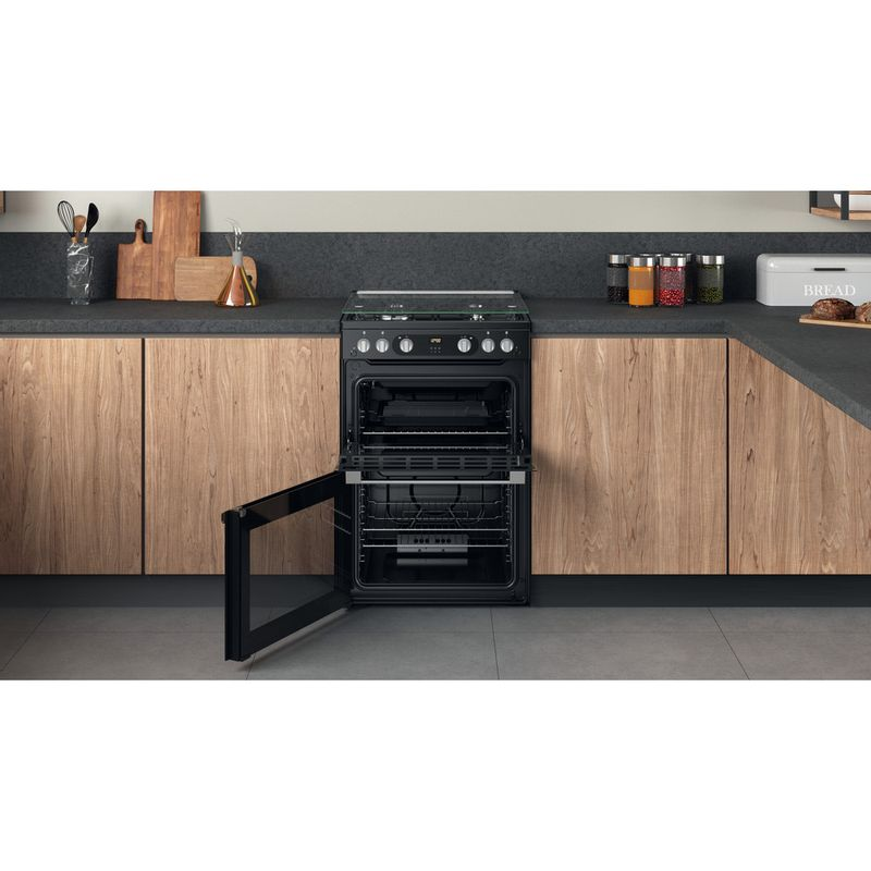 Hotpoint-Double-Cooker-HDM67G0C2CB-UK-Black-A--Lifestyle-frontal-open