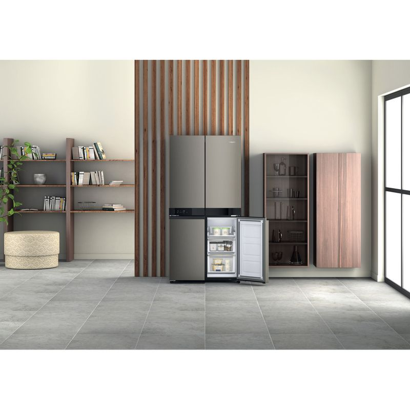 Hotpoint-Side-by-Side-Free-standing-HQ9-U1BL-UK-Black-Inox-Lifestyle-frontal-open